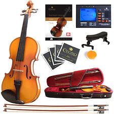 Mendini Size 4/4 Solidwood Violin Ebony Fitted +Tuner+Book/Video ~4/4MV400
