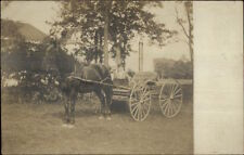 Horse Wagon & Woman - Manchester NH Indicated on Back c1910 RPPC