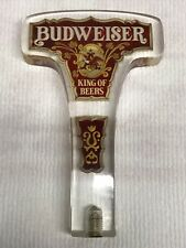 Vtg Budweiser Beer King of Beers on Tap Clear Lucite Handle Stained Glass Design