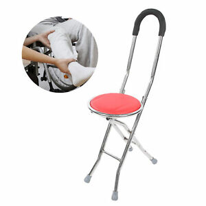 Foldable Walking Stick With Seat Portable Travel Cane Hiking Chair Stool 100KG