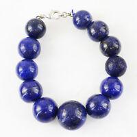 550.00 Cts Earth Mined Round Shape Untreated Blue Lapis Lazuli Beads Bracelet