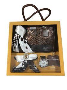 Gift Set My Wish Brown Crocodile Faux Leather Bag Scarf Brooch Watch Keyring