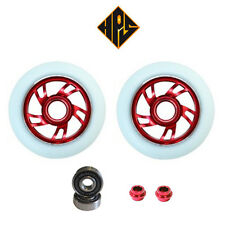 2X PRO STUNT SCOOTER RED TWISTER METAL CORE WHEELS 110mm 88A ABEC 11 BEARINGS 9