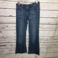 Juniors Hollister Size 7 Medium Wash Flare Raw Hem Womens Wide Leg Jeans