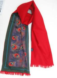 Silk scarf  Peacock feather  Viyella  Lined  Long  Red  Unisex for man or woman