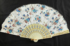 SPANISH BLUE BROWN ROSE CREAM WHITE LACE HAND FAN WEDDING DANCE FANCY PARTY