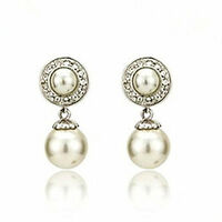 Beautiful Stylish Silver & Cream White Pearl Drop Dangle Earrings Bridal E546