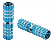 """Blue Alloy Pegs  BIKE FOOT PEG PEGS 3/8"""" 3/8 AXLE 24T OR 26T Blue 4 1/2"""" long"""