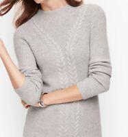 NWT  Talbots Cableknit Shaker Stitch Sweater Gray  Size M
