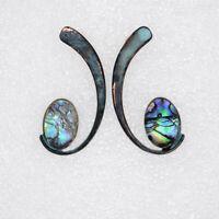 Robert Lee Morris Soho Patina Post Stud Pierced Drop Earrings Abalone shell VTG