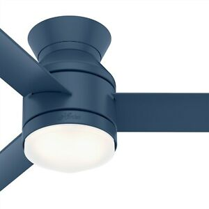 Hunter Fan 44 in Low Profile Indigo Blue Indoor Ceiling Fan w Light and Remote