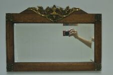 Antique Heavy Rectangular Oak Beleved Mirror with Brass Decoration