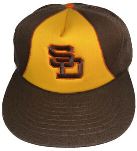 Vintage 1980s Yellow And Brown Padres Baseball Cap