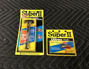 NOS Vintage Schick Super II Twin Blade Razor System + 7 Blade Cartridges Sealed