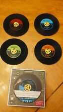 45 Rpm Vinyl Record Looking Drink Coasters Barware Set of 4 w/ Box Silicone