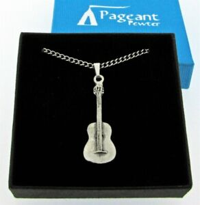 Acoustic Guitar Silver Pewter Pendant On A Chain