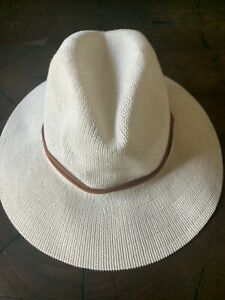 NWT Women's Urban Outfitters UO Ellie Woven Panama Neutral Hat Leather band $34