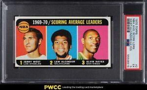 1970 Topps Basketball Jerry West Lew Alcindor Elvin Hayes SCORING LDRS #2 PSA 5