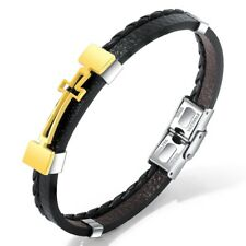 "Stainless Steel Men's 8.5"" Cross & Braided Black Leather Bracelet Silver or Gold"
