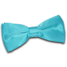 DQT Satin Plain Solid Robin's Egg Blue Formal Classic Mens Pre-tied Bow Tie