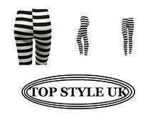 LADIES WOMEN HORIZENTAL STRIPE BLACK & WHITE LEGGINGS TROUSERS SIZE S/M, M/L, XL