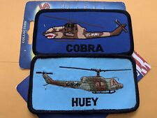 """New listing 2 U.S. Army Helicopter 4"""" Shoulder Patches Ah-1 Cobra & Uh-1 Huey Still On Card"""