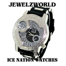 MENS ICED OUT HIP HOP SILVER/BLACK ICE NATION BULLET BAND WATCH *NEW*