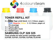 Recarga De Tóner 4x 50g para SAMSUNG CLP 320 321 325 326 CLX 3185 3180 CMYK