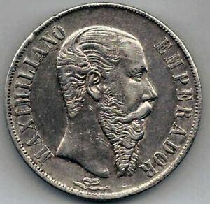 Mexico 1 Peso 1866 Silver Maximiliano @ Bella @