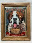 "VTG Almaden California Brandy Mirrored Sign With St. Bernard Dog 14"" x 11"""