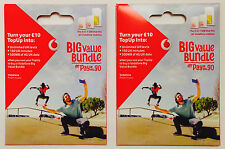 2 x Brand New Vodafone PAYG TRIO Sim Card Standard/Micro/Nano..First Class Mail.