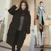 Women Winter Padded Puffer Down Long Jackets Quilted Hooded Coat Warm Outwear