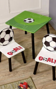 Kids Football Table And 2 Chairs Nursery Wooden Furniture Desk