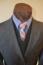 Ralph Lauren mens 2btn dark gray beaded striped wool suit sz 41R 40R pants 35x29