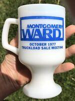1977 Montgomery Ward Pedestal Milk Glass 8oz Coffee Mug Sturdy!
