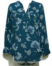 Ana  Long Sleeve V-Neck Floral Woman's Shirt Size PM