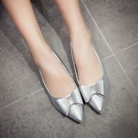 Womens Patent Leather Bowknot Pointed Toe Flats Loafers Slip On Leisure Shoes