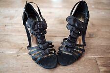 Teatro Black Evening Party Shoes High Heels Satin Straps Sequin Stiletto VGC