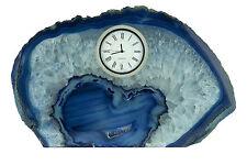 GeoCentral Blue Agate Mantel Silver Tone Wind-up Clock Room Decor Specimen