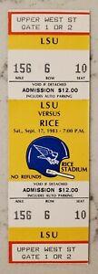 Rice Owls LSU Tigers Football FULL Ticket 9/17 1983 Dalton Hilliard Stub