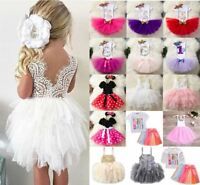 Toddler Kids Baby Girl Wedding Birthday Party Pageant Tutu Tulle Princess Dress