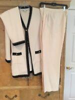St John Ivory And Black Suit Jacket 8 Skirt 6, Pants 8