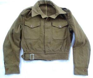 WWII JAN 1943 BRITISH ARMY BATTLEDRESS BLOUSE OLIVE DRAB SIZE 13 MILITARY JACKET