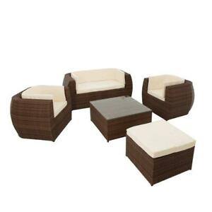 Polyrattan Sitzgruppe Gartenmöbel Set Lounge Tisch Sessel Rattan Essgruppe Braun