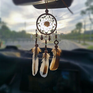 Car Dream Catcher for Rearview Mirror Handmade  Navy Blue Car Charms Hanging.JN