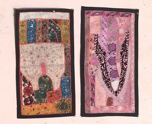 2 Pc Handmade Embroidered Tapestry Vintage Wall Hanging Wall Decor Art PV-95