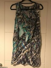 Oasis Multi Colour V Neck Drop Waist Frill Detail 100% Silk Dress Sz 10