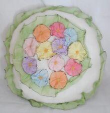 Vintage Circa 1930s Organdy Pillow Round Posie Flowers Pastel Colors Vogart Styl