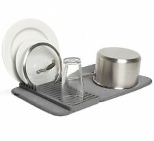 Umbra UDRY Mini DRYING MAT and DISH RACK 2-in-1 Dishrack Tidy CHARCOAL Grey