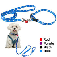 Paw Print Nylon Puppy Dog Collar & Matching Leash Set for Small Medium Dogs